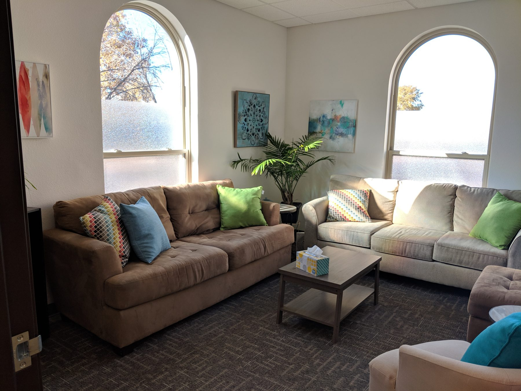 Therapy Room at Elevation Counseling in Albuquerque for individual psychotherapy, couples counseling, family counseling, mental health therapy.