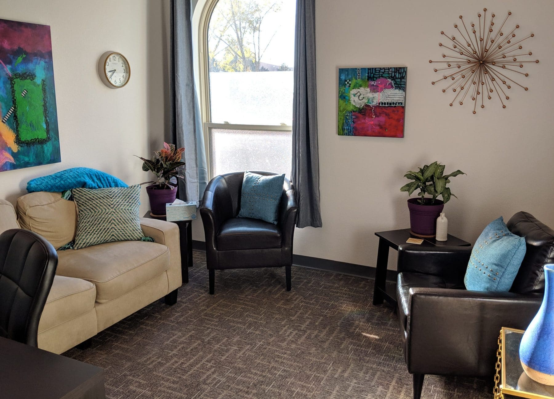Therapy Room at Elevation Counseling in Albuquerque for individual psychotherapy and counseling, couples counseling, family counseling, mental health therapy.