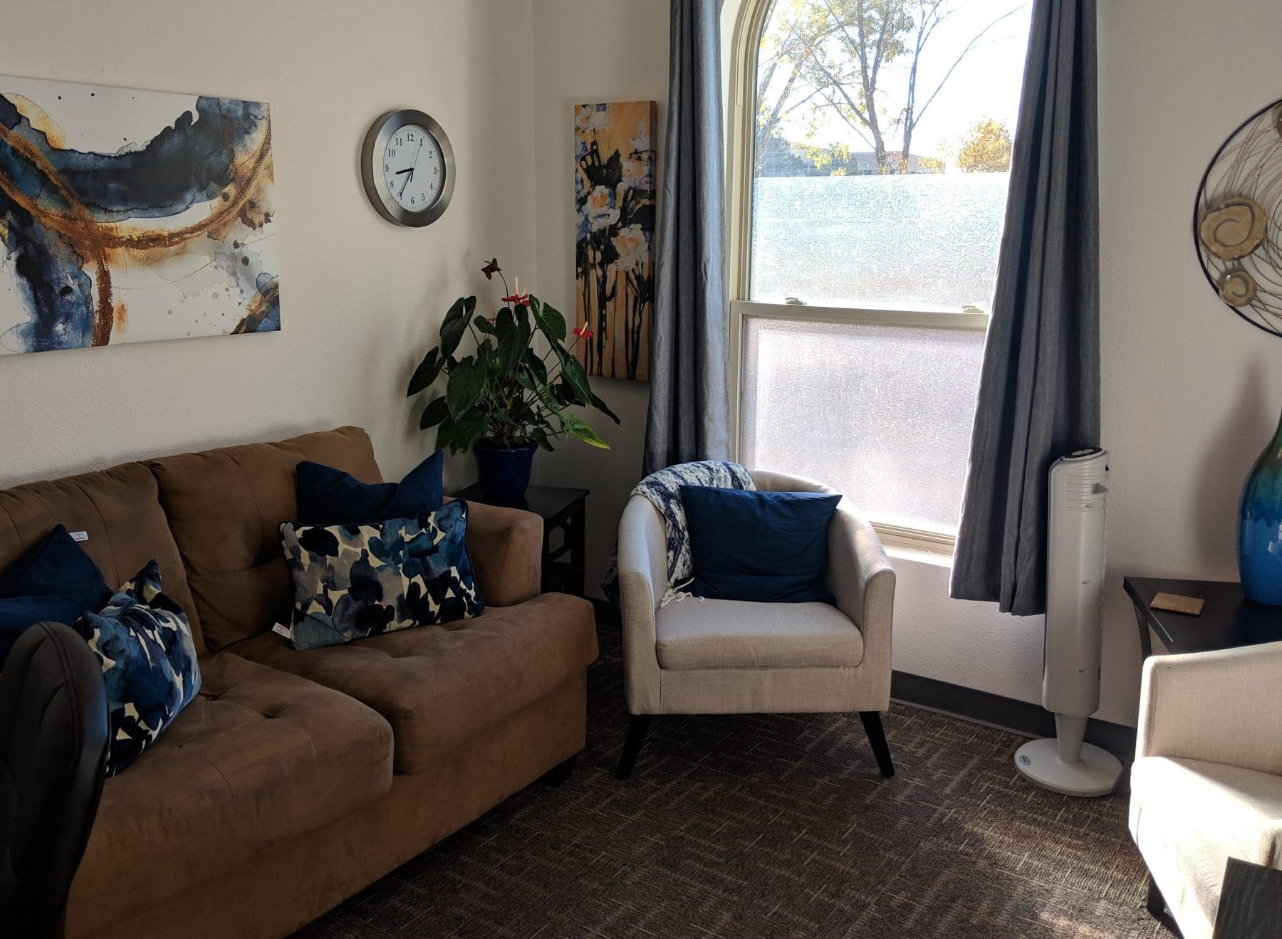 Therapy Room at Elevation Counseling in Albuquerque for individual therapy, couples counseling, family counseling, mental health therapy.